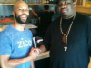 Patrice with Rapper Common. Health food spot in LA.