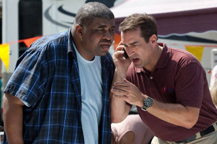 Patrice on set with Rob Riggle. Nature Calls was Patrice's Final Movie Appearance.